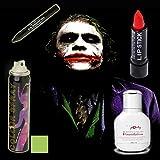 Halloween Joker Makeup Set da 4-Miss Pouty Bianco Liquido Fondazione, Star Gazer Rossetto rosso, Star Gazer NERO Ombretto piuma Stargazer UV verde Hair Spray adatto per adulti e bambini