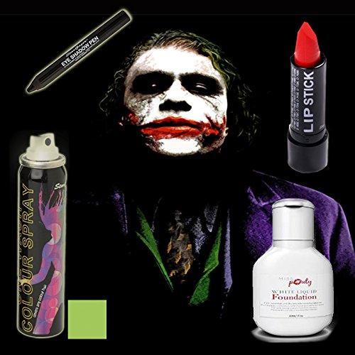 Halloween Joker MakeUp Set von 4 - Miss Pouty Weiß Flüssige Foundation, Stargazer Roter Lippenstift, Stargazer Schwarz Lidschatten Feder Stargazer UV Grün Hairspray- Geeignet für Erwachsene und Kinder
