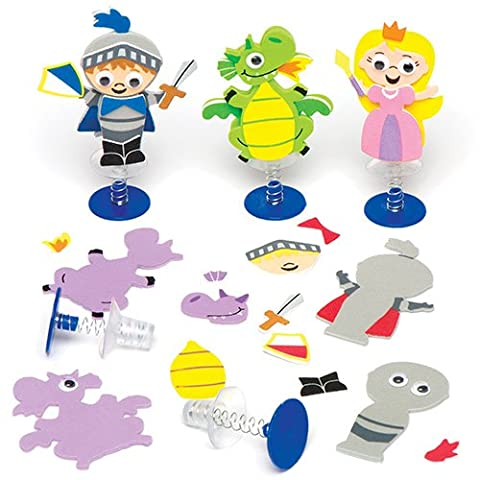 Knights & Dragons Jump-up Kits for Children to Design Make and Decorate - Creative Craft Toy Set for Kids (Pack of