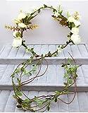 ZGP &Kopfschmuck Krone Blumen-Kranz, Stirnband-Blumen-Girlande-Handgemachtes Hochzeits-Braut-Partei-Band-Stirnband Wristband Hairband Beige (Farbe : A)