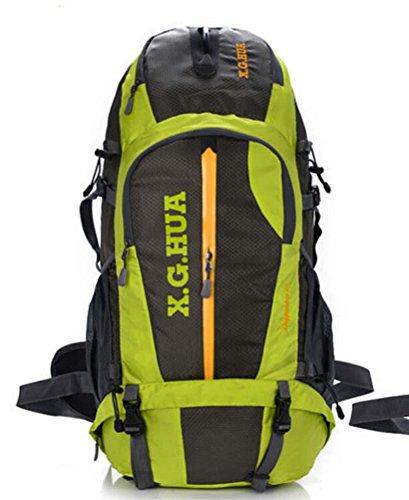 All'aperto alpinismo poliestere borsa zaino outdoor impermeabile trekking zaini per viaggio arrampicata in montagna, 50L , orange Green
