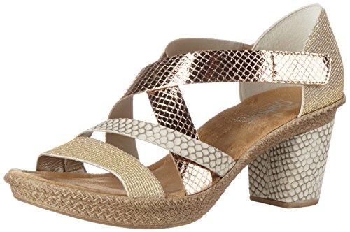 Rieker Damen 66581 Offene Sandalen mit Keilabsatz, Mehrfarbig (Lightgold/Kiesel/Kupfer / 90), 38 EU