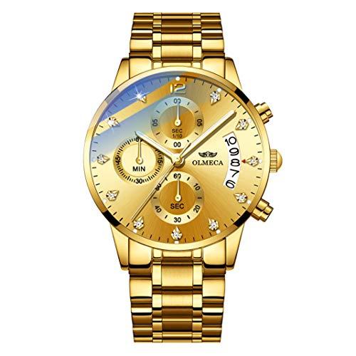 4890e6e8dc6f OLMECA Relojes Hombre Moda de Lujo Reloj de Pulsera de Cuarzo Cronógrafo  Impermeable con Cuero