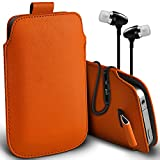 ( Orange + Ear phone ) Pouch Case for Acer Liquid Jade