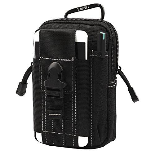 MOLLE POUCH, Compact EDC Utility Tactical Mehrzweck-Gadget Werkzeug Gürtel Taille Tasche Pack mit Karabiner (Schwarz) (Leder Kleine Pen Pouch)