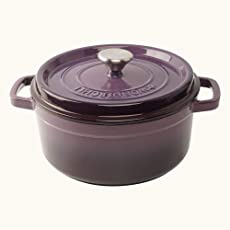 Wonderchef Ferro Cast Iron Casserole with Lid, 5 Liters/26 cm, Purple