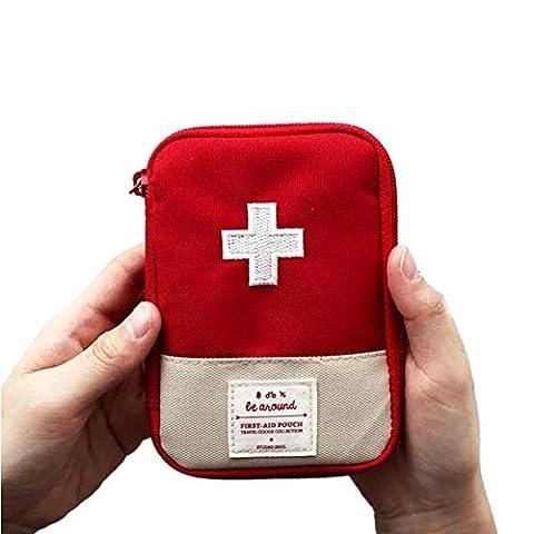 Mini Sac médical Trousse de premiers soins Sac d'emballage de médicaments Voyage en plein air Portable Rouge