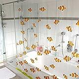 HAB & GUT (DV044) Cortina de Ducha, 180 cm x 180 cm PVC, Motivo: Peces, color de naranja, viene con anillos de plástico