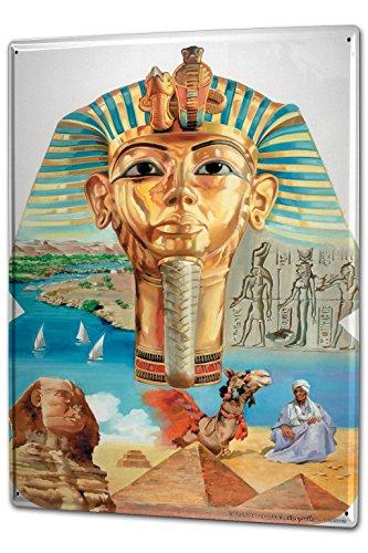 Cartello Targa in Metallo XXL Nilo Cairo Egitto Faraone Sphinx Geroglifici Africa Arte
