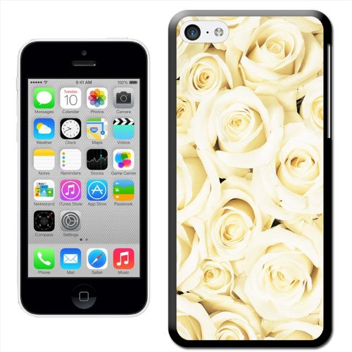 Fancy A Snuggle 'Just Roses' Hard Case Clip On Back Cover für Apple iPhone 5 C White Rose Bouquet Close Up