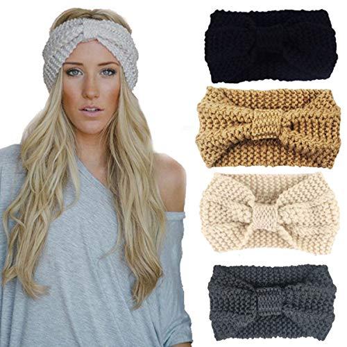DRESHOW 4 Stück Damen Schleife Design Stirnband Winter Kopfband Haarband Stirnband Häkelarbeit -