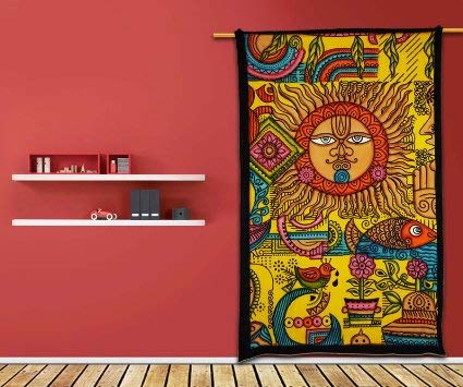Étnico Sun Tapestry Hippy Table Cloth pared amarilla colgantes decora