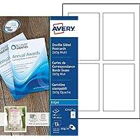 Avery 100 Cartes de Correspondance à Bords Lisses 260g  - 128x82 mm - Impression Jet d'Encre - Mat - Blanc (C2318)