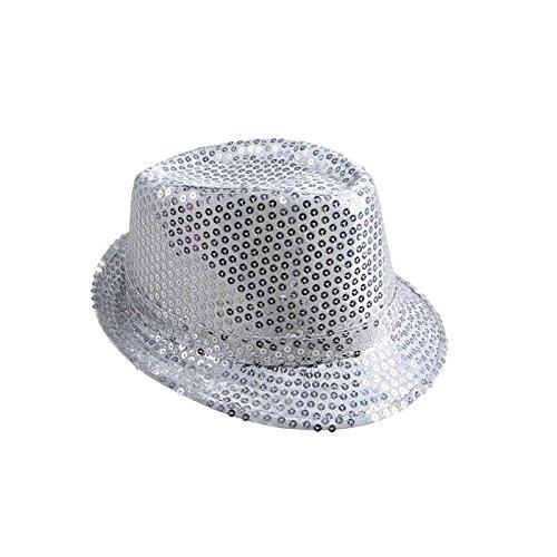 P'TIT CLOWN 20191 Chapeau Tissu Sequins Adulte - Borsalino - Argent