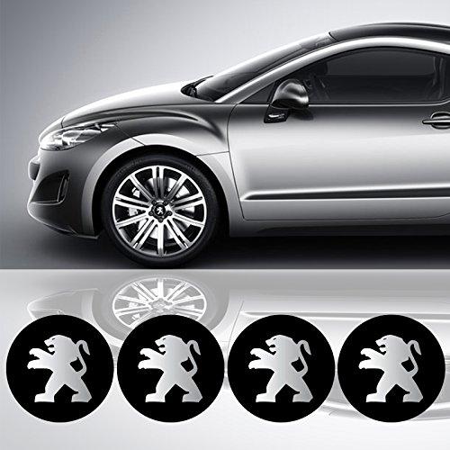 Preisvergleich Produktbild 4 x 55 mm Durchmesser PEUGEOT Rad Mitte Kappen Aufkleber Self Adhesive Emblem Decals Billig