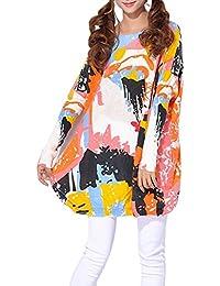 ELLAZHU Femme Pull Robe Tricot Lâche Imprimé Visage Abstract Taille Unique SZ17