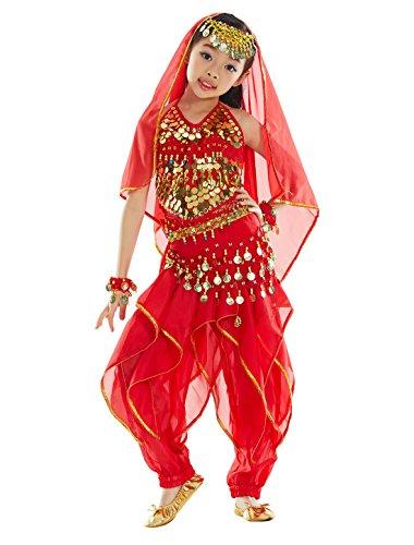 Bellyqueen 7 pezzi set di déguise vestito principessa paillettes vestito danza del ventre vestito orientale per costume spettacolo carnevale top pantaloni harem accessori 8-11 anni rosso