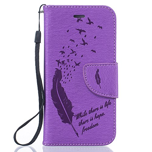 Per Apple iPhone 5 5G 5S / iPhone SE (4 Pollici) Custodia ZeWoo® Custodie in PU Pelle Case Cover - BF061 / Piuma nera BF064 / Piuma viola