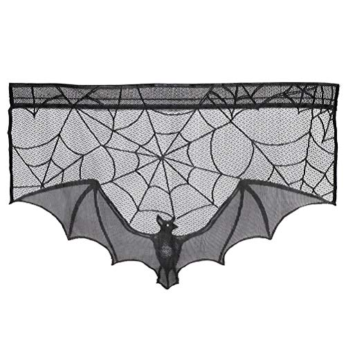 Wetrys 1 Stück Halloween Dekoration Spitze Spinnweben Fledermaus Kamin Kamin Kaminbekleidungen 1 Pcs