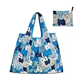 Reusable Shopping Bags - Eco-Friendly Foldable Grocery Bags for Shopping Organizing, 3 Pack (Grey Cat, Blue Cat, Orange Owl)
