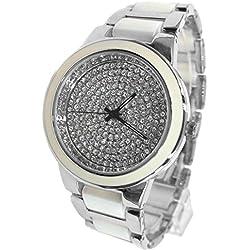 ukfw971b rund PNP glänzend Silber Watchcase Damen Frauen Keramik Watch Fashion Watch