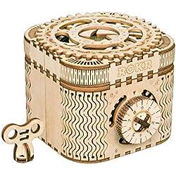 ROKR Caja del Tesoro 3D en Madera,3D Rompecabezas de Madera Kit de Construcción Sin Pegamento para Niños y Adultos (Treasure Box)