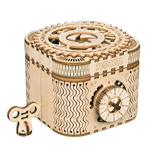 ROKR Treasure Box-3D Laserschnitt Holzpuzzle Mechanische hölzernes Modell Gebäude, mit Schlüsseln Geburtstags für Mädchen und Frauen