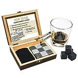Pierre à whisky Coffret cadeau 9 Pierres Whisky avec ensemble de fait à la main Boîte et pince, whisky pierre Cool boissons sans Dilution, idée cadeau pour Papa, Mari, Hommes