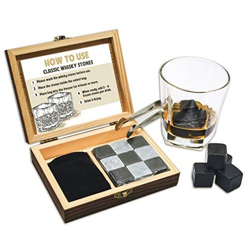 Whisky Stein Geschenk Set 9PCS Whisky Rocks Eiswürfel Whiskey Rocks Set mit Handgefertigt Holz Box und Zange Kühle Getränke ohne Dilution, perfekte Geschenkidee für Vater, Ehemann, Herren