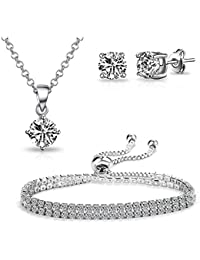 Philip Jones Silver Floral Pearl Set with Crystals from Swarovski®