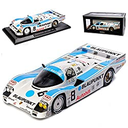 Norev Porsche 962C Nr8 3. Platz 24H Le Mans 1988 Winter Jelinski Dickens Weiss Blau 1/18 Modell Auto