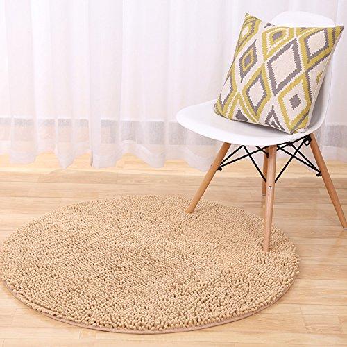 Zeafeel Rutschhemmend Chenille Shag Badteppich, Weich saugfähig Küche Fußmatte im Bad Teppich Teppich 2 ft Round Hellbraun -