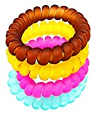 #9: Transparent Matte Multi-Colour Spiral Hair Rubber Band Ponytail Holder for Girl's and Woman's. Set of 4 pcs