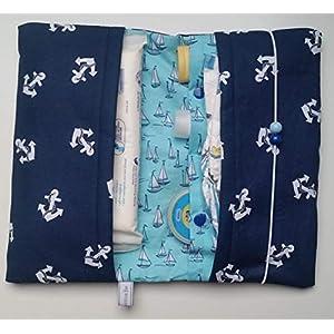Windeltasche Anker groß/blau und Segelboote