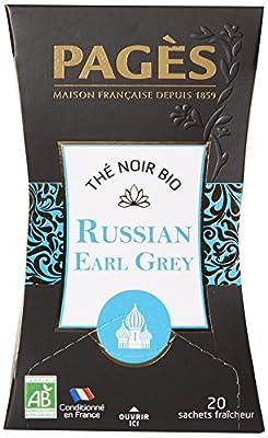 PAGÈS Thé Noir Russian Earl Grey Bio 20 Sachets 36 g - Lot de 3
