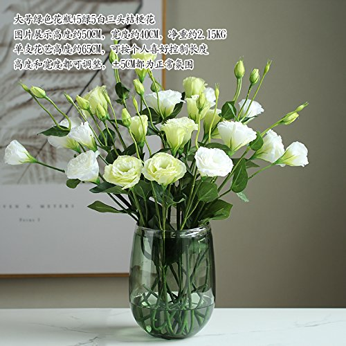 Xin Home Emulation Artificial Flowers Glass Vase Floral Kit Living Room Ornaments, Large Green Vases +5 Green 3 White 3-head Platyodis Flowers