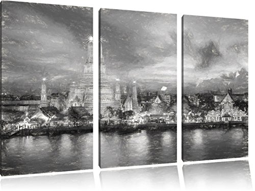 wat-arun-temple-night-view-di-bangkok-thailandia-effetto-carbone-3-pezzi-picture-tela-120x80-immagin