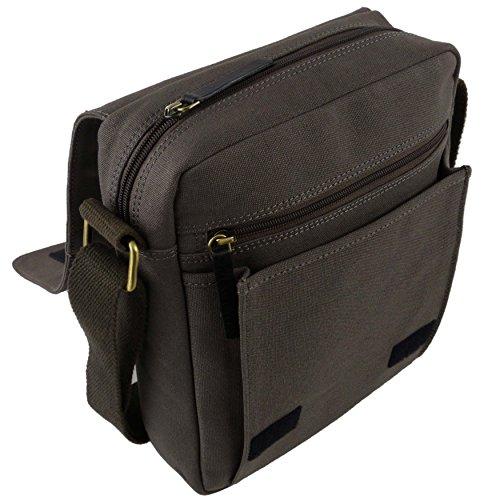 Leinwand Leder North South Kreuz Körper Tasche von Taranis Travel iPad Dunkelgrau