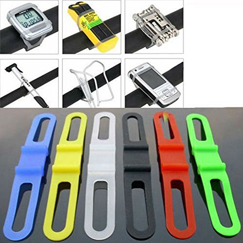 SODIAL(R) 2pcs Cycling Bike Bicycle Silicone Elastic Rubber Strap Bandage Tie Flashlight Holder