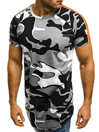 OZONEE Mix Herren T-Shirt Camouflage Motiv Kurzarm Rundhals Figurbetont bry 181118 Grau XL (T-shirt Baumwolle Camouflage)