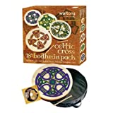 Waltons - Coffre cadeau Bodhrán 18 Shamrock - pochette, batteur, DVD inclus / Fanore Cross Bodhran Design