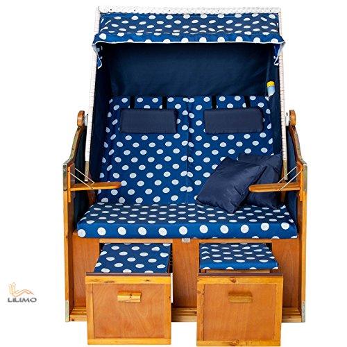 Strandkorb OSTSEE BDW blau, Geflecht weiß, blau-weiß gepunktet, mit Hülle, von LILIMO ® - 3