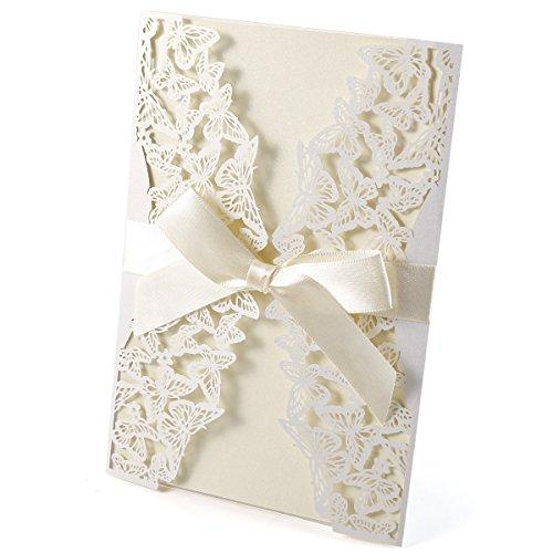 erling Einladungskarten Elegant Spitze Design mit Karten, Umschläge, Schleifer, Einlegeblätter OHNE DRUCK Hochzeit Geburtstag Taufe Party Einladung #68 ()