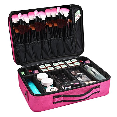 House of Quirk 3 Layer Cosmetic Organizer Beauty Artist Storage Brush Box with Shoulder Strap(Pink)