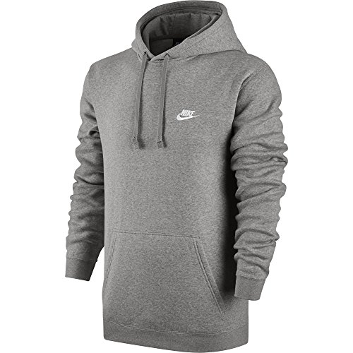 Nike Herren Sportswear FLC Club Hoody, Grau (Dark Grey Heather/Dark Grey Heather/White), M