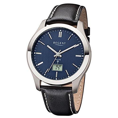 Regent Reloj de pulsera elegante Analog de piel para hombre de pulsera Negro Reloj controlado por radio urfr223