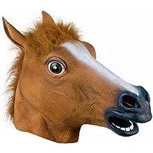 Malloom®magia látex cabeza de caballo máscara / careta animal disfraz de adulto prop (marrón)