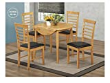 The One Eiche Finish Esstisch Set–Rund Drop Leaf Essgruppe–Hartholz Ausziehbarer Esstisch mit 2Stühle–Esszimmer Möbel