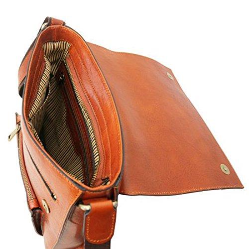 Tuscany Leather Oliver Herrentasche aus Leder mit Vordertasche - TL141656 (Schwarz) Honig