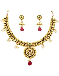 JFL - Traditional Ethnic One Gram Gold Plated Red Green Stone Kundan Pearl Designer Necklace Set For Girls & Women.